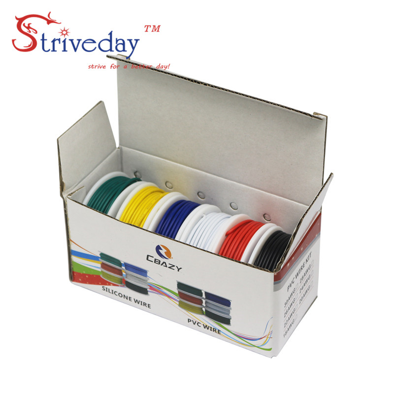 28/26/24/22/20/18 awg ( 6 colors Mix Stranded Wire Kit ) Electrical Wire Cable Line Airline Copper PCB Wire bhf 24 26 28 с 18
