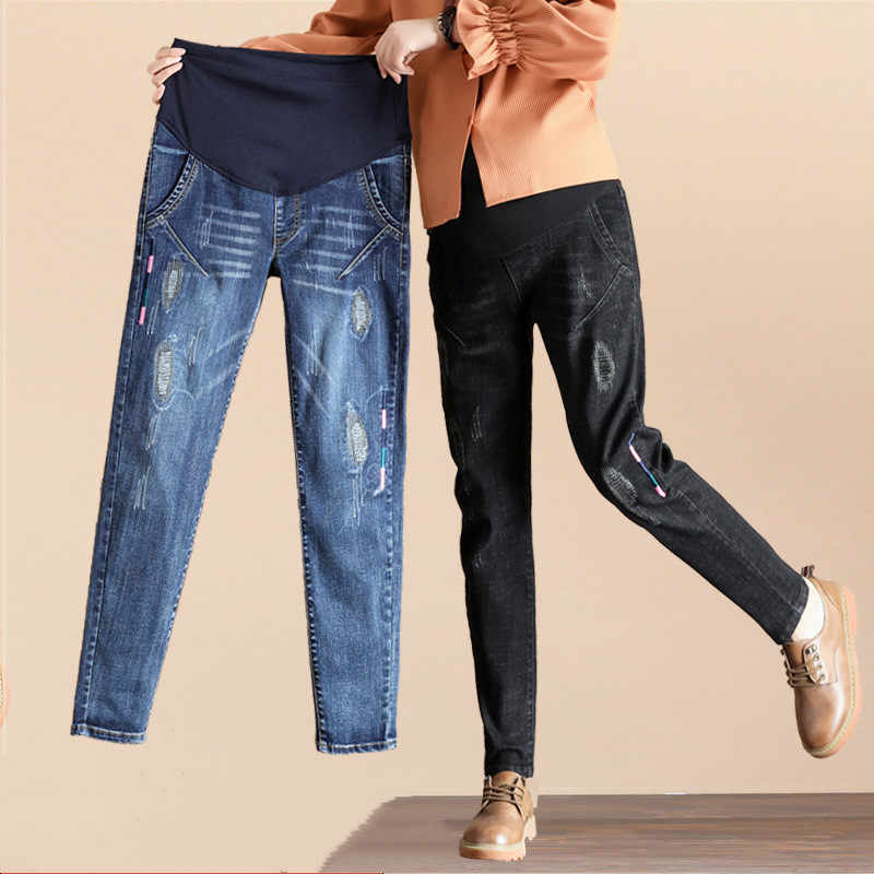 964fc30a41fb2 Maternity Pants Jeans High Elastic Stomach Lift Adjustable Casual Pregnancy  Pants Thickening Pregnant Jeans Woman Denim