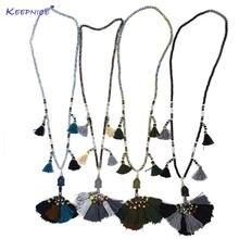 Новое этническое женское ожерелье разноцветное хлопковое с бахромой