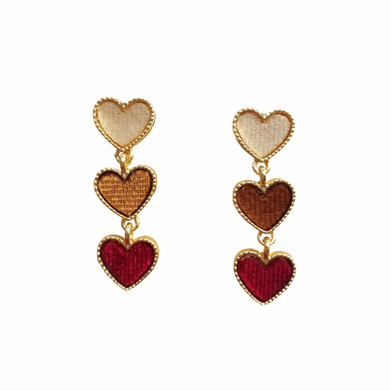 Temperament Lovely Girl Heart Shaped Velvet Ear Pin Eardrop Short Kinds Peach Earrings Accessories Wholesale For Women Oorbellen