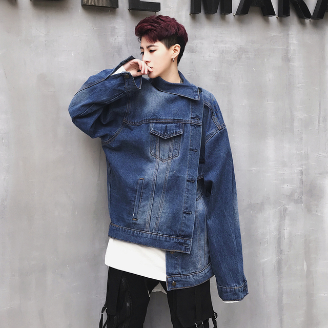 Men S Asymmetrical Loose Brand Blue Denim Jacket Coat Teens Fashion