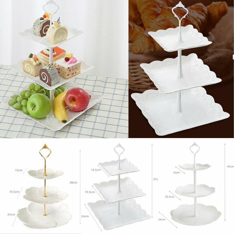 3 Tier Plastic Cake Stand Afternoon Tea Wedding Plates Party Dessert Plate Fruits Vegetable Storage Rack TablewareTool Holder|Dishes & Plates|Home & Garden - title=