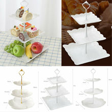 Soporte de plástico de 3 niveles para Tartas, platos de boda y té de la tarde, plato para postre de fiesta, estante para almacenamiento de vegetales, soporte para vajilla