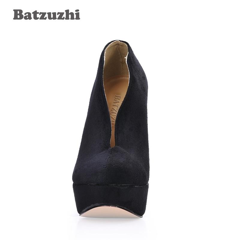Partido Mujeres Botas Del De Zapatos 40 Alto Tacón Negro Plataforma Mujer Batzuzhi 14 Tobillo Sexy Cuero Grande Suede Cm qwnWxCf6S