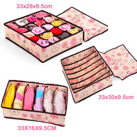 3 قطع لطيف محبوكة الوردي درج مقسم بغطاء حجرة صناديق حاوية للعلاقات الجوارب الصدرية داخلية منظم