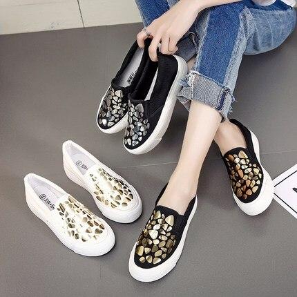 Chaussures Nouvelle Mode Harajuku Sauvage Été Étudiantes 1 Ulzzang Coréenne 2018 3 2 Casual Toile Plat Femmes AUwtScq