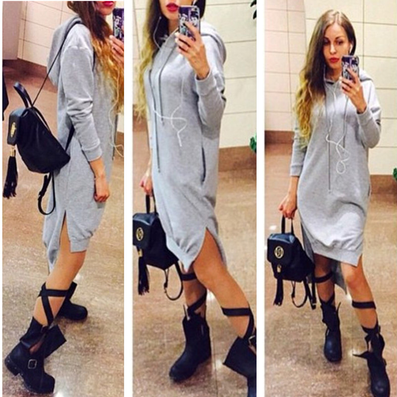 1b5eac480346 Qideal L 2017 New Slit Dress Vintage Elegant Dresses Long Sleeve Hooded  Pockets Casual Fall Dress Loose Vestidos Plus Size-in Dresses from Women s  Clothing ...