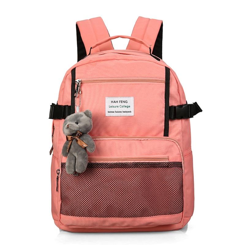 Harajuku Simple Waterproof Canvas Backpack Korean Shoulder Bags Ulzzang School Teenagers Girls