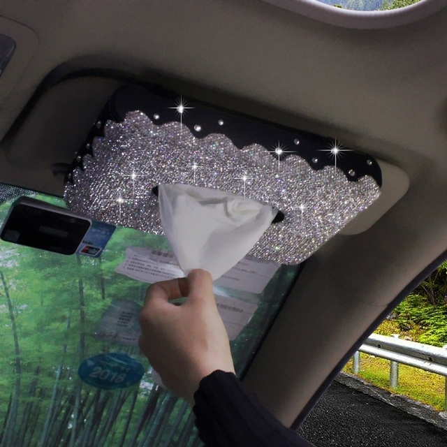 Bling Bling Sun Visor Type Car Tissue Box with Luxury Crystals Hanging  Paper Towels Tissue Container Case for Interior 0c609cc320d