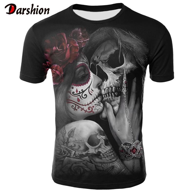2019 New 3D Skull T Shirt Men Woman Tshirt Print Punk Style Summer Tops Casual Tees Short Sleeve Streetwear Halloween Clothing