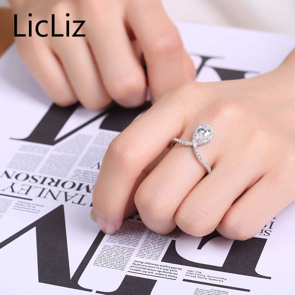 LicLiz Big Water Drop แหวน 925 เงินงานแต่งงานแหวนนิ้วมือแหวน Eternity แหวน Party LR0341