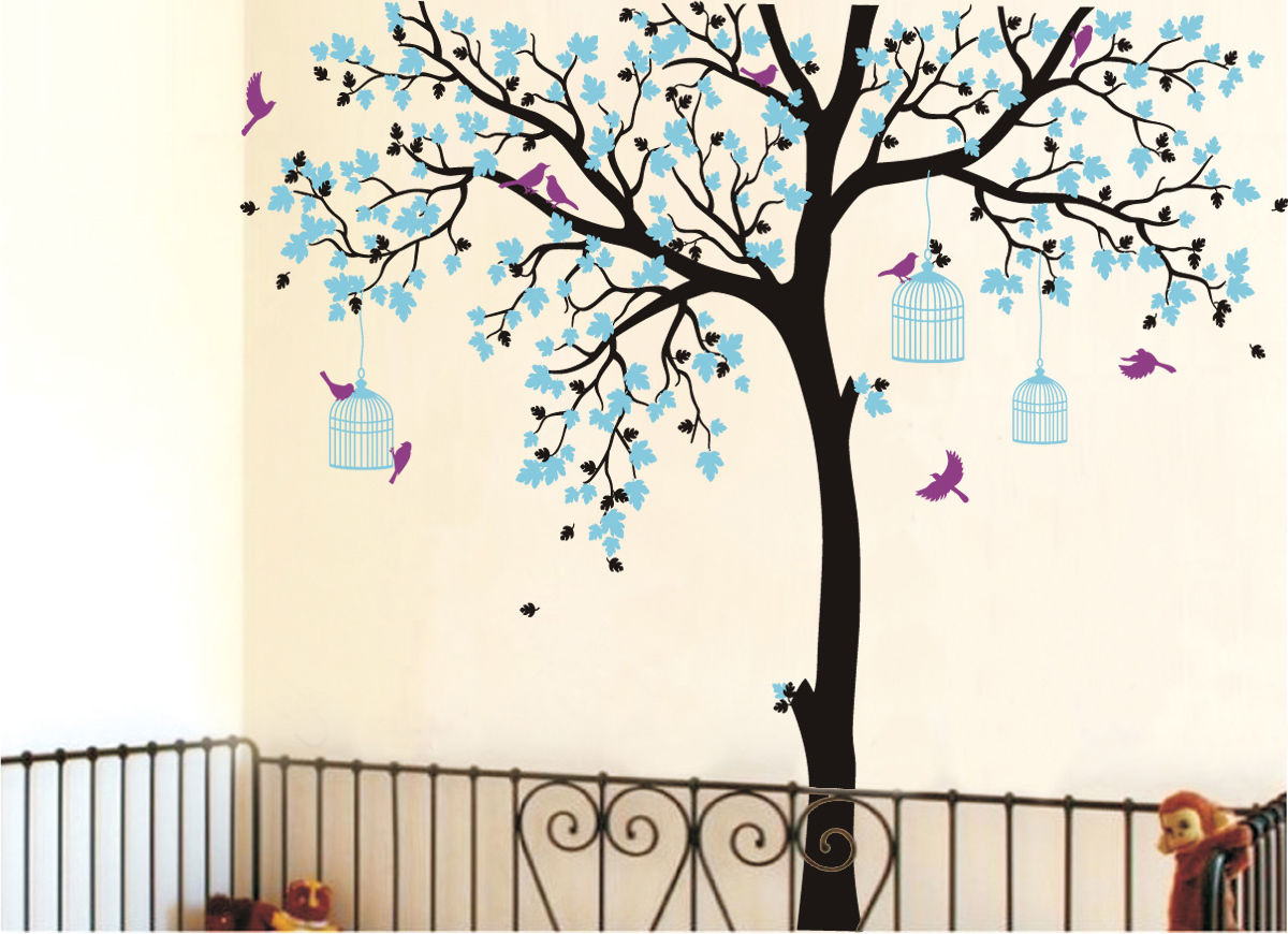 C198 большой размер клетка для птиц на дереве детские наклейки на стену Съемная Виниловая наклейка для детской комнаты Декор стены художеств... - 4