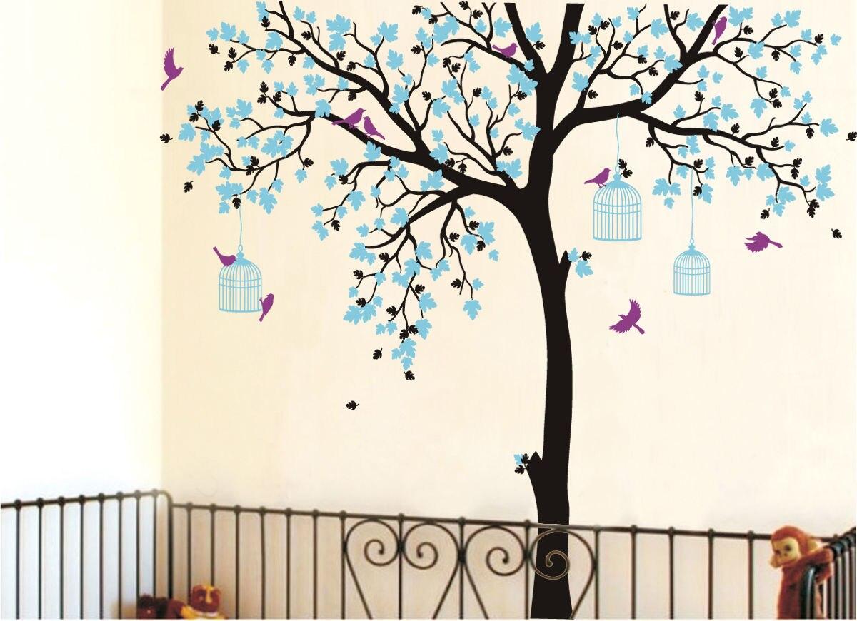 C198 grande taille Cage à oiseaux arbre pépinière Stickers muraux amovible vinyle décalque enfants bébé chambre décor mur art affiche - 4