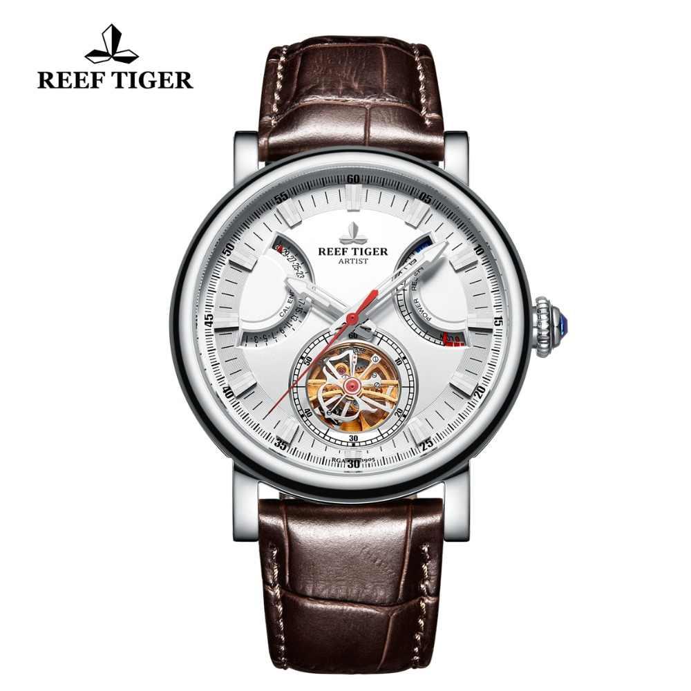 Reef Tiger/RT อัตโนมัตินาฬิกาผู้ชายสีขาวสายหนังนาฬิกาวันที่ RGA1950