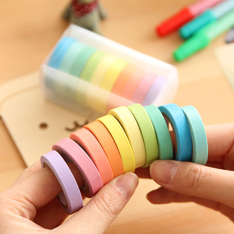 AYRON 10 pcs/lot Candy Solid DIY Craft Decorative Adhesive Tape Washi Sticker