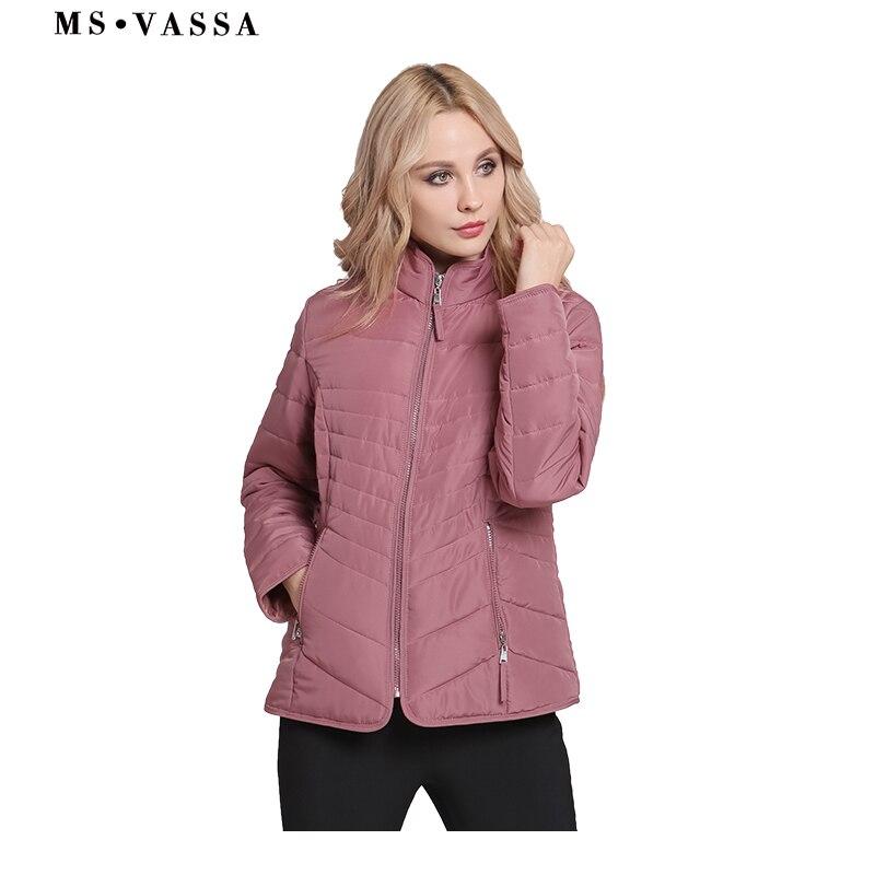 MS VASSA Jackets Women 2018 New Autumn Winter Ladies Basic Coats Stand Up Collar Slim Plus Size 6XL 7XL Female Outerwear