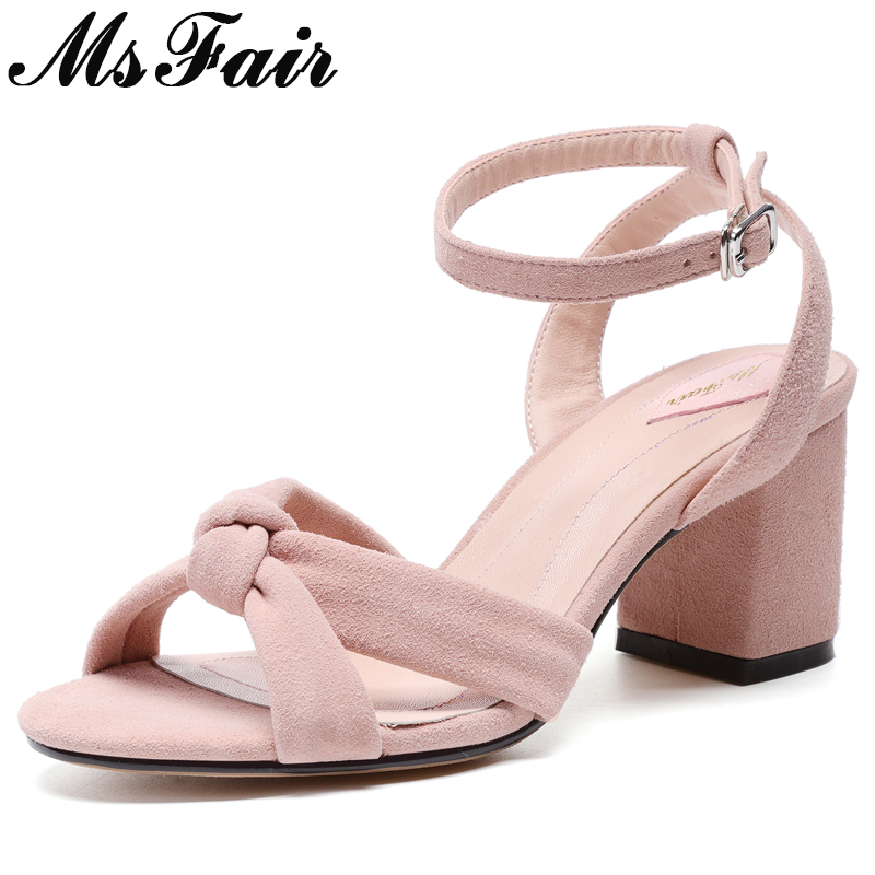 MsFair Round Toe Open Toed Sandals Shoes Woman Fashion Metal Buckle High Heels Women Shoes Sandalias Mujer High Heel Sandals msfair women square toe wedges sandals fashion butterfly crystal high heels woman sandals 2018 new summer women high heel shoes