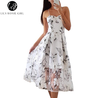 Lily Rosie Girl Off Shoulder Backless Sweet Floral Print Women Dresses Spaghetti Strap Summer Beach Party