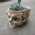 White Human Skull Planter Archaize Garden Storage Pots Resin Finish Skeleton Container Flowerpots For Decoration