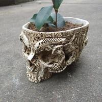 White Human Skull Planter Archaize Garden Storage Pots Resin Finish Skeleton Container Flowerpots For Decoration