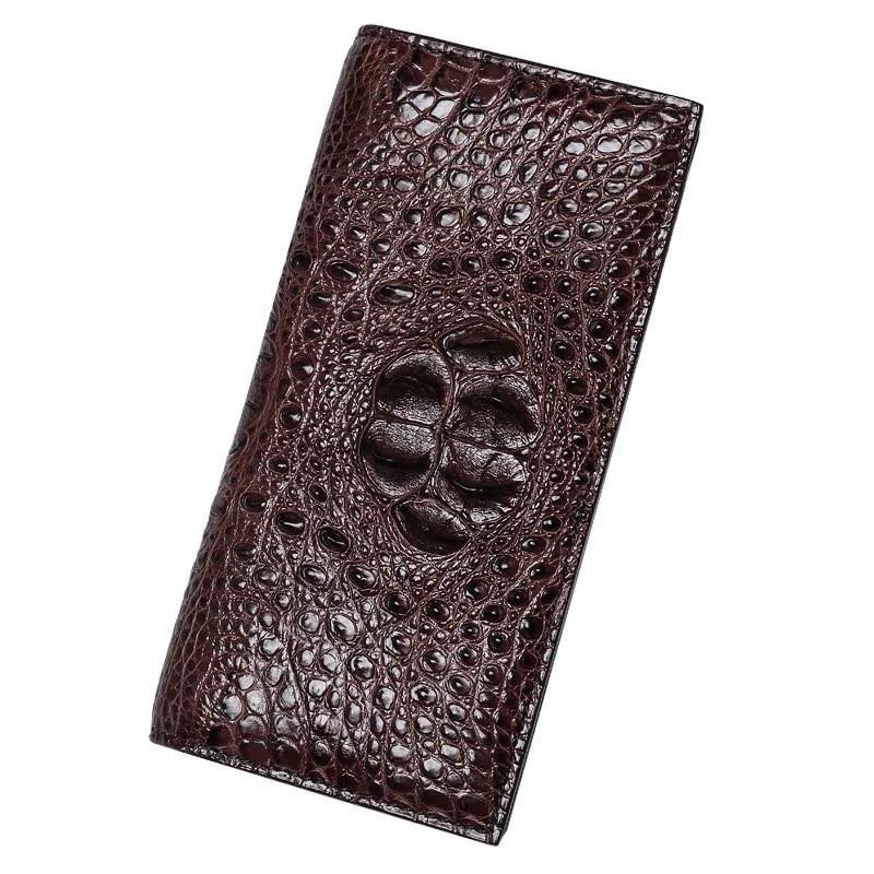 Business Designer Genuine Crocodile Skin Men s Long Bifold Wallet Man Thin Clutch Purse Real Alligator