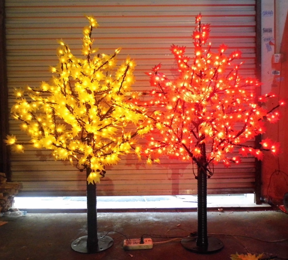 Free Ship 636 LEDs 5ft Height LED Maple Tree LED Christmas Tree Light Waterproof 110/220VAC RED/Yellow Color Outdoor Use