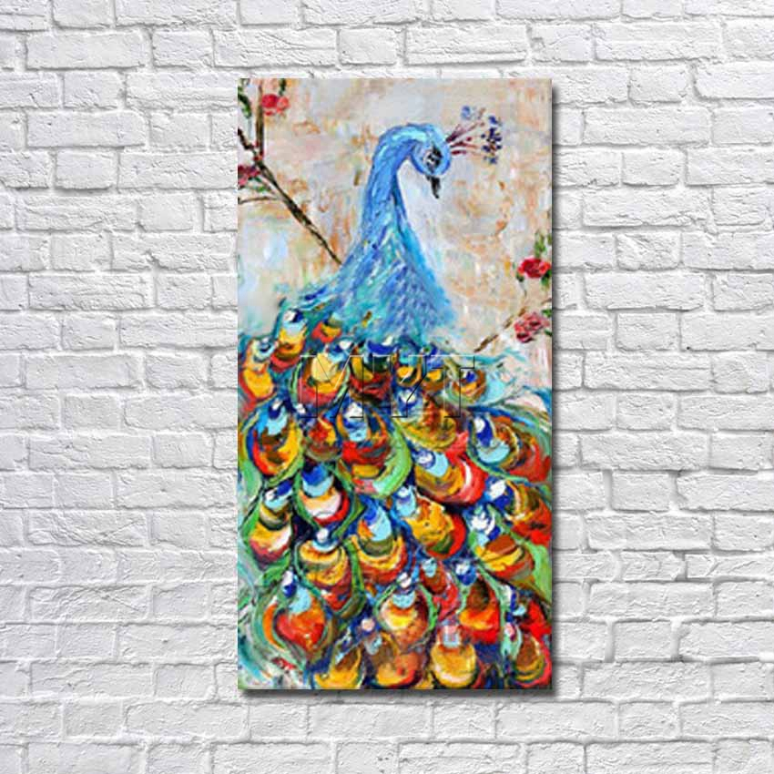 free shipping ems the peacock hand painted wall painting on canvas