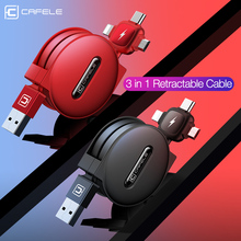 Cafele 3 in 1 Retractable USB Cable 8 Pin Micro Type C cable for iPhone huawei xiaomi samsung 150cm Data Sync