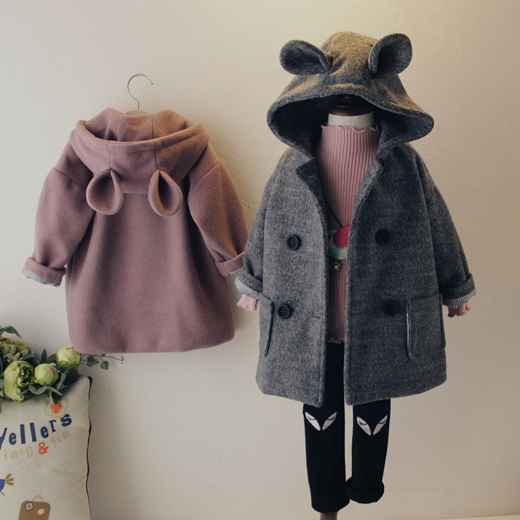 Brand Children Coat Jackets Stripe Cute Rabbit Ears Hooded Wool Coats for Girl Kids Double-breasted Woolen Jacket Infant Outwear brand children coat jackets stripe cute rabbit ears hooded wool coats for girl kids double breasted woolen jacket infant outwear