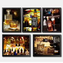 Bar Beer Wine Wall Art Canvas Painting Whisky Nordic Poster Bottle Pictures For Living Room Night Club Party Decor Unframed