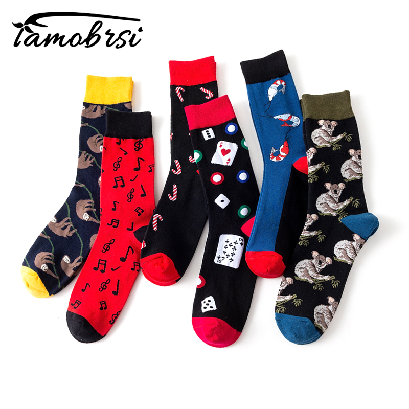 Funny Crazy Hipster Winter Women Streetwear New Happy   Socks   Tide Brand Poker Music Symbols Men's Cotton Thick Warm   Socks   Sox