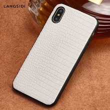 crocodile Grain Genuine Leather phone case for iPhone X XS XS max XR 6 6s 7 8 8 plus 360 Full shockproof protective Back cover(China)