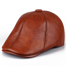 New men's leather leather cap in autumn and winter male Leather Hat Beret peaked cap warm cap