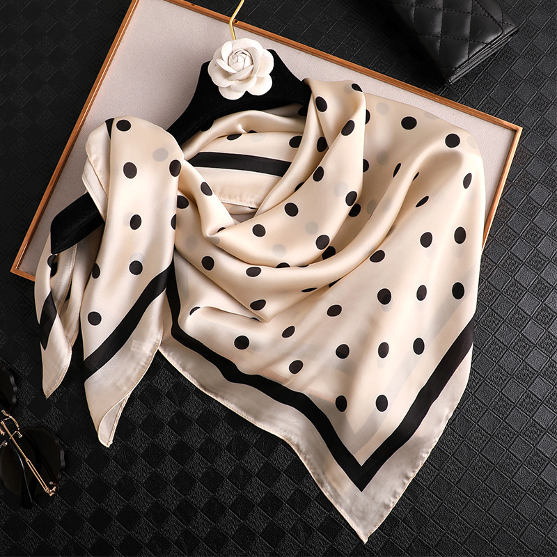 2020 Fashion Women Spain Luxury Brand Dot Silk Scarf Print Square Bandanas Pashmina Lady Bag <font><b>Foulards</b></font> Wrap Hijab Snood <font><b>90</b></font>*90Cm image
