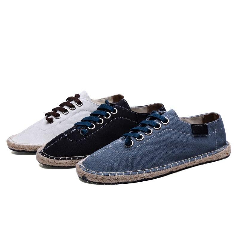 Handmade Respirável Casuais Homens Weave De white Preto blue Sapatos Lace Black Branco Sapatas Dos Up Azul Lona t8Sw0Ynnx