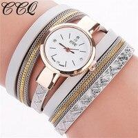 CCQ Women Fashion Watch Analog Quartz Female Clock Winding PU Leather Crystal Top Brand Luxury Ladies
