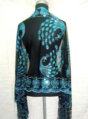 Hot SELL Gorgeous Paillette Women's Silk Sequin peafowl Shawl/  Scarf     Wrap   black/turquoise