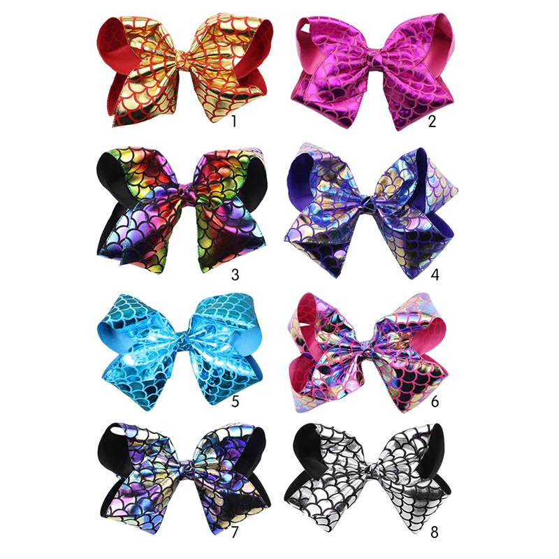 8Pcs/lot 8inch Large Fish Scales Bowknot Handmade Hair Bow Clips For Girls Boutique Mermaid Hairpins Party Headwear Accessories halloween party zombie skull skeleton hand bone claw hairpin punk hair clip for women girl hair accessories headwear 1 pcs