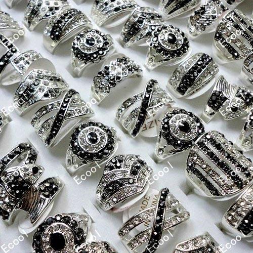 10 Pcs Venda Quente de Cristal Cheio de Strass Prata Banhado Anéis Para As Mulheres Da Moda Jóias Inteiras Lotes Granéis LR173