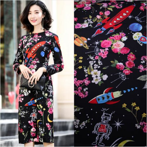 170X145cm Fashion Week Located Galaxy Spacecraft Robots Flowers Black Polyester Fabric for Woman Girl Dresses Sewing