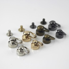 10pcs Metal Ball Post With O Ring Studs Rivets Nail Screwback Round Head Spots Spikes Leather Craft phone case decor Accessories