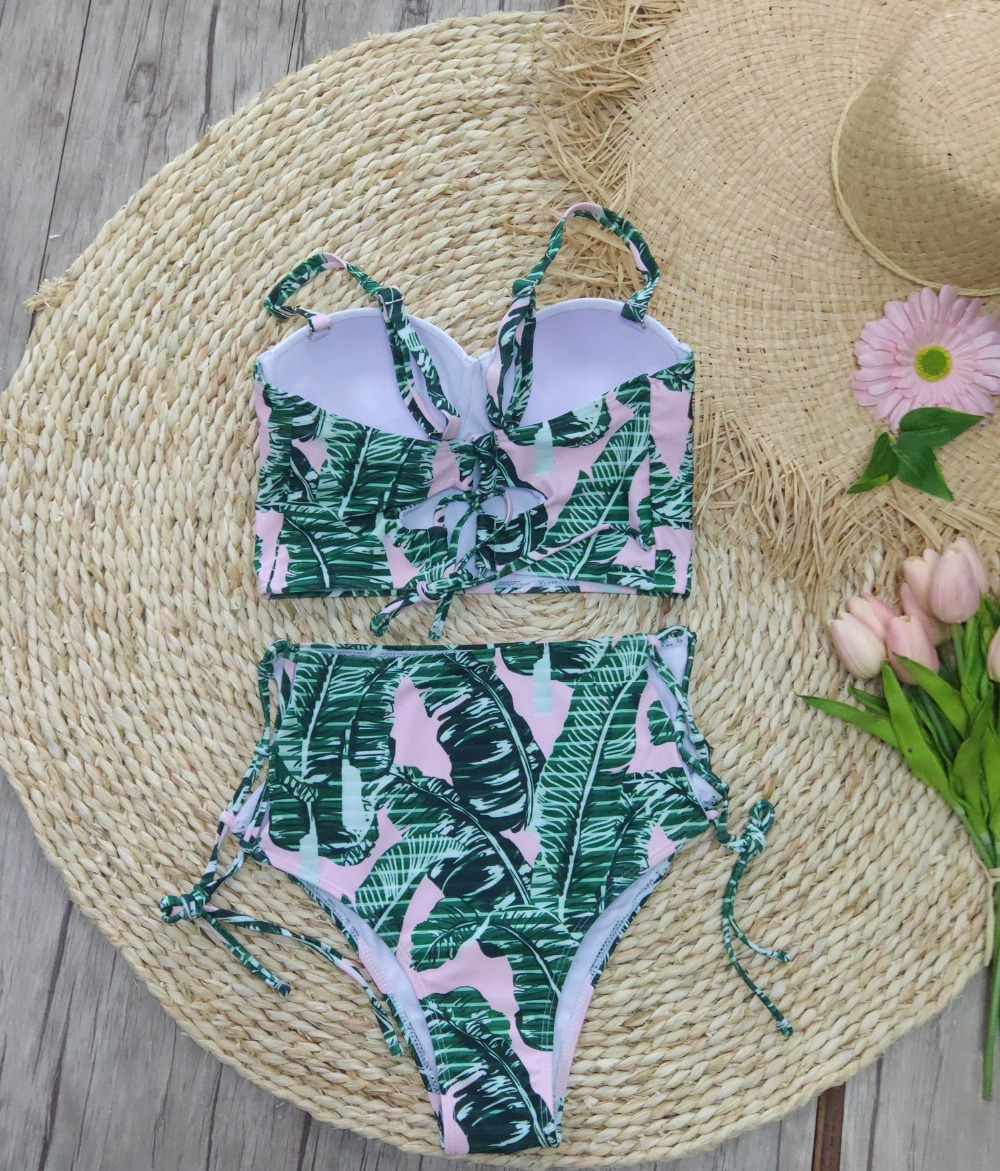 HTB16COaO6DpK1RjSZFrq6y78VXaC High Waist Swimwear Women Swimsuit 2018 Bikini Bandage Bikinis Set Padded Bathing Suit New Leaf Print Biquini Maillot de bain