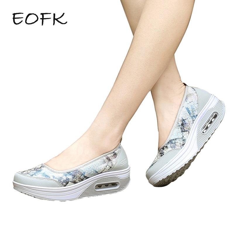 EOFK Women Platform Shoes Woman Moccasin Women s Flat Slip On For Ladies Shoes Color scales