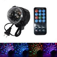 מנורת הקרנת סאונד Actived 7 צבע LED כדור קסם דיסקו 3 w Strobe אור Led שלב סיבוב עבור מועדון מסיבת חתונת חג