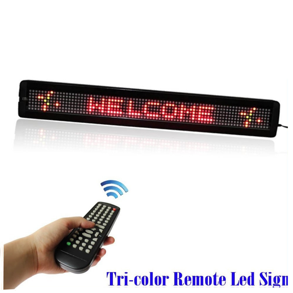 5PCS 7.62 RGY Tri color Programmable LED Moving SIGN Scrolling Message Display For Cars, Shops, Supermarkets, Electronic Sign