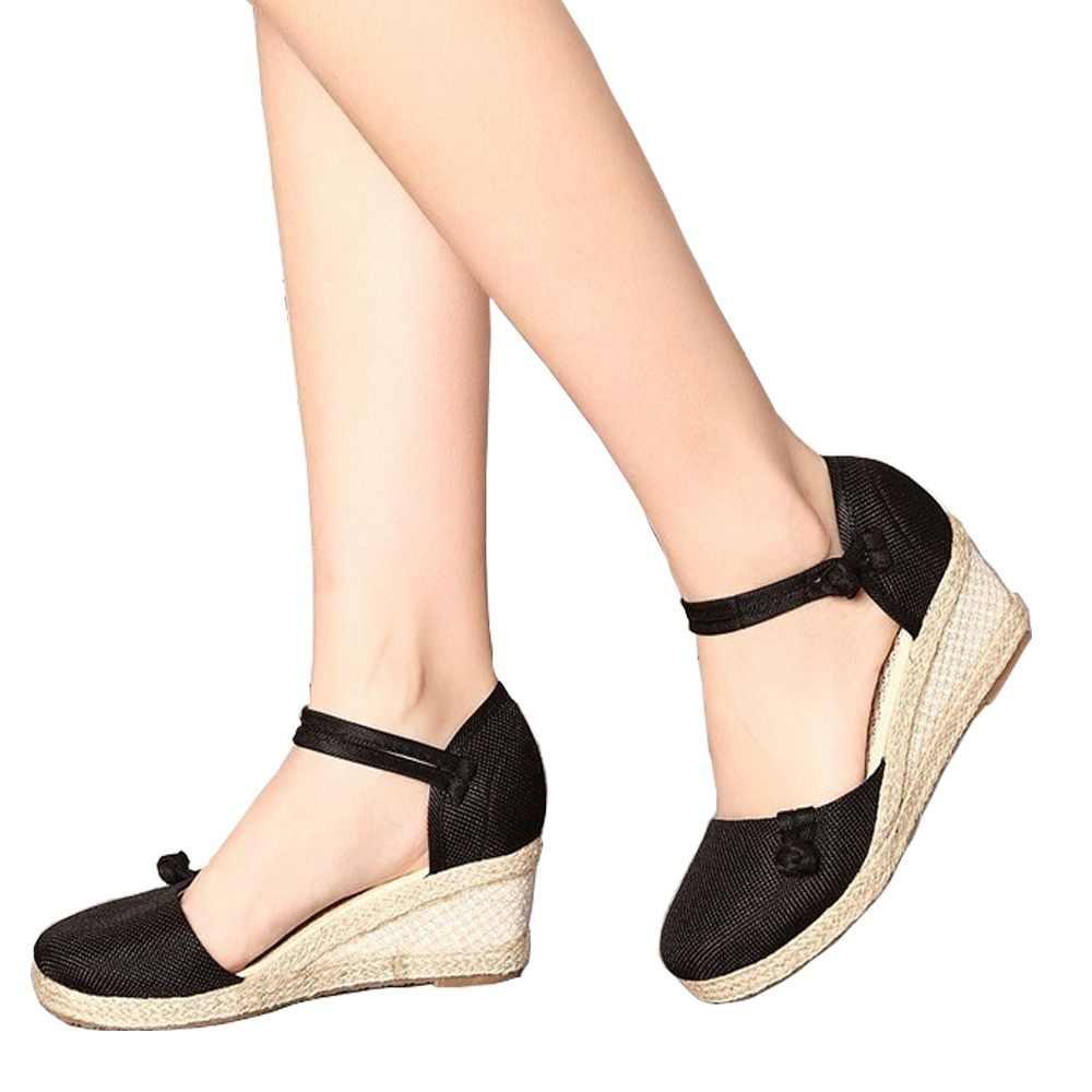 7c2dda1ad3 Veowalk Vintage Women Sandals Casual Linen Canvas Wedge Sandals Summer Ankle  Strap Med Heel Platform Pump