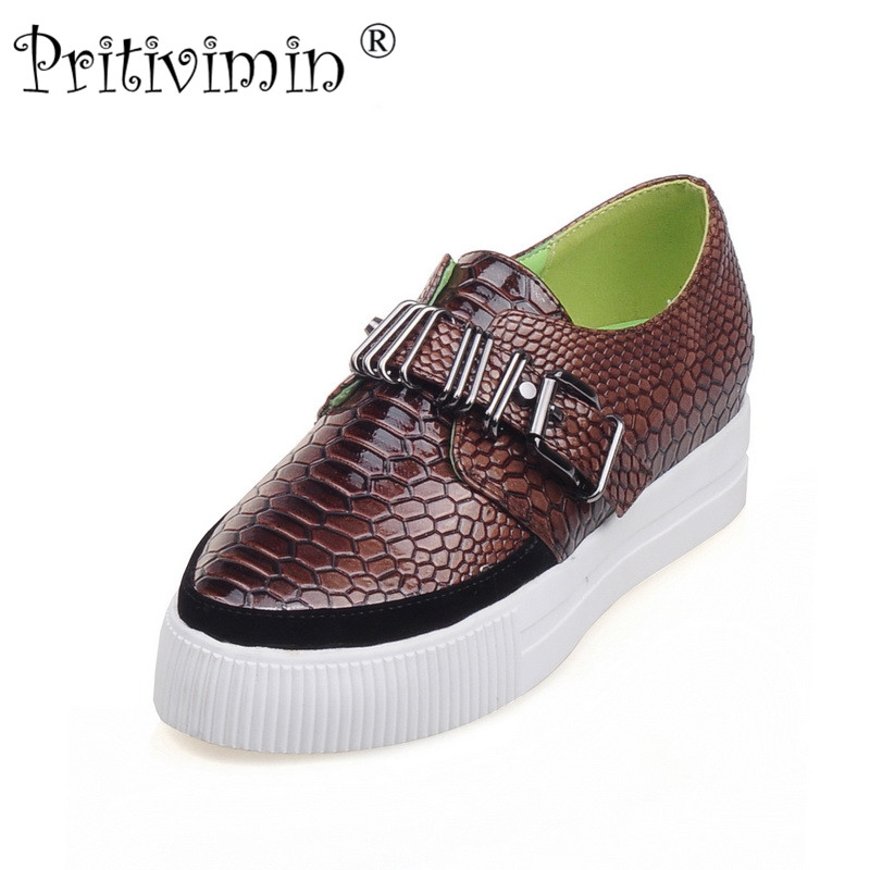 Pritivimin FN105Girls Fashion punk shoes Woman Flats footwear slip on Creepers women platform buckle Loafers Boat Shoes big size phyanic 2017 gladiator sandals gold silver shoes woman summer platform wedges glitters creepers casual women shoes phy3323