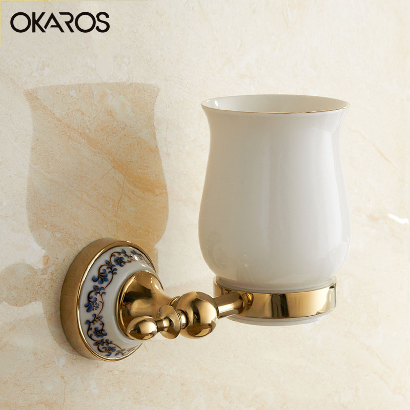 OKAROS Wall Mounted Bathroom Single Ceramic Cup Holder Tooth Brush Tumbler Holder Brass Gold Finish Bathroom Accessories antique brass solid brass bathroom accessories double handle tooth cup & tumbler holder wall mounted