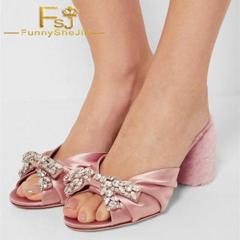36af5890b6f Pink Satin Rhinestone Bow Fur Heels Peep Toe Block Heels Mules Summer  Attractive Noble Incomparable Generous