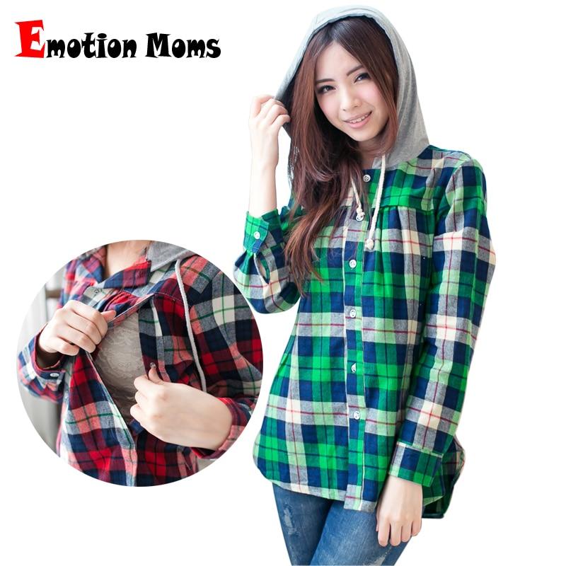 04d9e252ebdd916 Emotion Moms клетчатая рубашка с длинными рукавами Одежда для беременных  топы для беременных и кормящих женщин Весна
